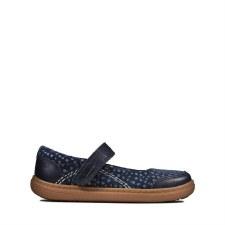 Clarks 'Flash Stripe Toddler' Girls Shoes (Navy)