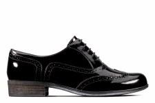 Clarks 'Hamble Oak' Leather Brogues (Black Patent)