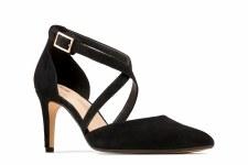 Clarks 'Laina85 Cross' Ladies Heels (Black Suede)