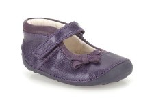 Clarks 'Little Harper' Girls First Shoes (Purple)