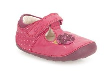 Clarks 'Little Poppy' Girls First Shoes (Berry)