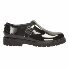 Clarks 'Purley Go BL' Girls School Shoes (Black Patent)