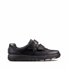 Clarks 'Rex Pace Kids' Boys School Shoes (Black)