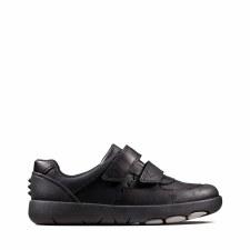 Clarks 'Rex Pace Kids' Boys School Shoes (Black)