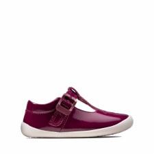 Clarks 'Roamer Spark' Girls Pre Shoes (Plum Patent)