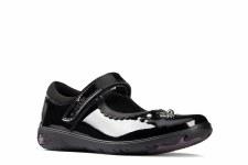 Clarks 'Sea Shimmer Kid' Girls School Shoes (Black Patent)