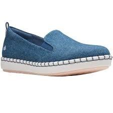 Clarks 'Step Glow Slip' Ladies Shoes (Denim)