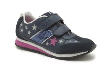 Clarks 'SuperGlitz Jnr' Girls Sport Shoes (Navy)