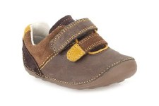 Clarks 'Tiny Seb' Boys First Shoes (Brown Combi)