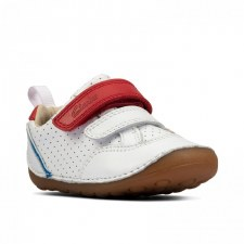 Clarks 'Tiny Sky Toddler' Boys Shoes (White Leather)