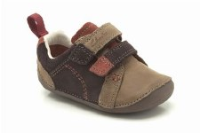 Clarks 'Tiny Soft' Boys First Shoes (Brown Combi)
