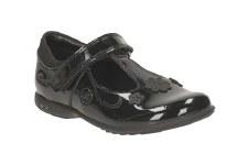 Clarks 'Trixi Beau Inf' Girls School Shoes (Black Patent)