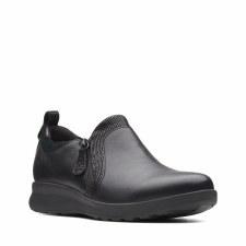 Clarks 'Un Adorn Zip' Ladies Shoes (Black Combi)