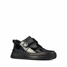 Clarks 'Vibrant Glow Kid' Childrens School Shoes (Black Patent)