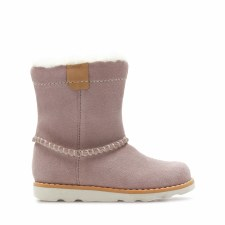 Clarks 'Crown Piper' Girls Boots (Pink Suede)