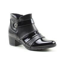 Heavenly Feet 'Claire' Ladies Ankle Boots (Black Pat Combi)