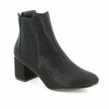 Heavenly Feet 'Wave' Ladies Ankle Boots (Black Diamante)