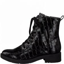 Jana '25264' Ladies Ankle Boots (Black Croc Patent)