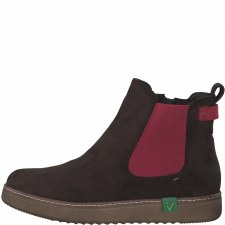 Jana '25480' Ladies Ankle Boots (Mocca/Red)