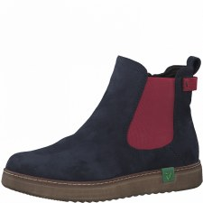 Jana '25480' Ladies Ankle Boots (Navy/Red)