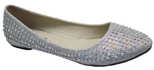 Krasceva '30212' Jewelled Ladies Flats (Silver)
