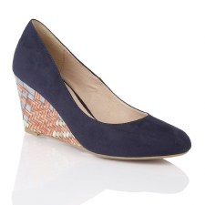 Lotus 'Trinity' Ladies Wedge Shoes (Navy)