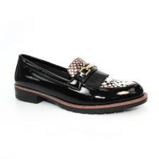Lunar 'Antonella' Ladies Loafers (Black Patent/Snake)