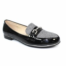 Lunar 'Antonella' Ladies Loafers (Grey/Black)