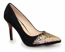 Lunar 'Chanel' Ladies Heels (Black/Gold)