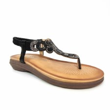 Lunar 'Edwina' Ladies Sandals (Black Glitz)