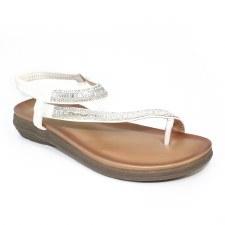Lunar 'Lola' Ladies Sandals (White Glitz)
