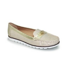 Lunar 'Sintra' Ladies Moccasin Shoes (Gold)