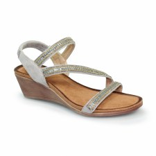 Lunar 'Sofia' Ladies Wedge Sandals (Grey)