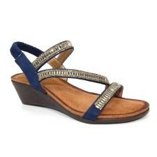 Lunar 'Sofia' Ladies Wedge Sandals (Navy)