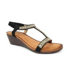 Lunar 'Tabitha' Ladies Wedge Sandals (Black)