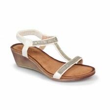 Lunar 'Tabitha' Ladies Wedge Sandals (White)