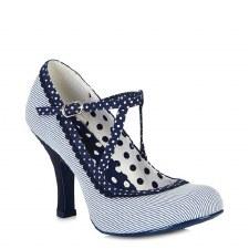 Ruby Shoo 'Jessica' Ladies Heels (Blue Stripe)