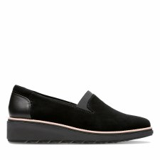 Clarks 'Sharon Dolly' Ladies Shoes (Black Suede)