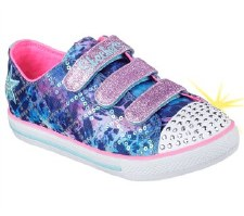 Skechers 'Twinkle Toes: Chit Chat' Girls Canvas Shoes (Blue Multi)