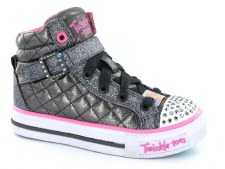 Skechers 'Twinkle Toes: Shuffles - Sweetheart' Girls Shoes (Gunmetal)