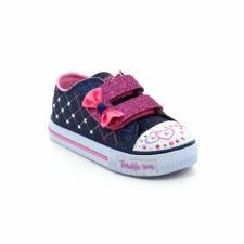 Skechers 'Twinkle Toes: Shuffles - Glitter Crush' Girls Shoe (Navy/Pink)