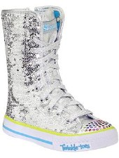 Skechers 'Bizzy Bunch' High Top Sneakers (Silver)