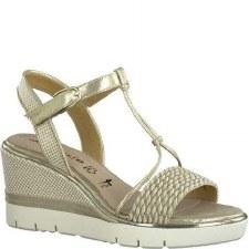 Tamaris '28315' Ladies Wedge Sandals (Lt Gold)