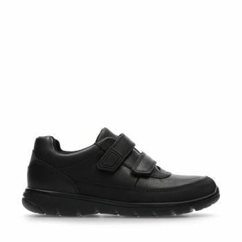 Clarks 'Venture Walk' Boys School Shoes (Black Leather)