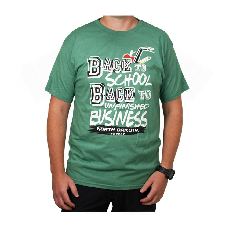 UNIVERSITY OF NORTH DAKOTA HOCKEY UNFINISHED BUSINESS SERIES THREE BACK-2-SCHOOL TEE