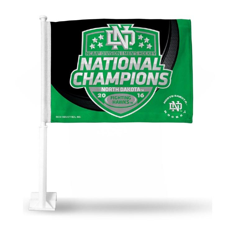 UNIVERSITY OF NORTH DAKOTA 2016 NATIONAL CHAMPIONS CAR FLAG
