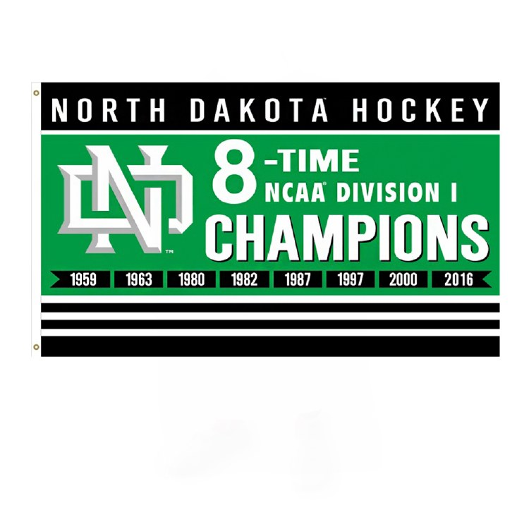 UNIVERSITY OF NORTH DAKOTA 8 TIME NCAA CHAMPIONS FLAG