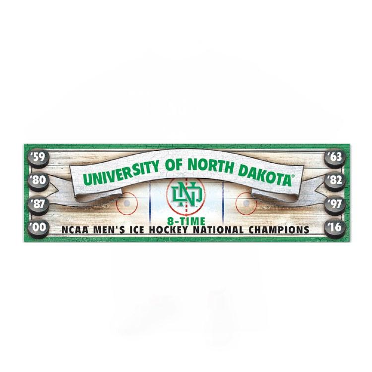 UNIVERSITY OF NORTH DAKOTA 8 TIME NCAA CHAMPIONS ANTIQUE SIGN