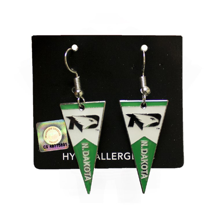 UNIVERSITY OF NORTH DAKOTA PENNANT EARRINGS