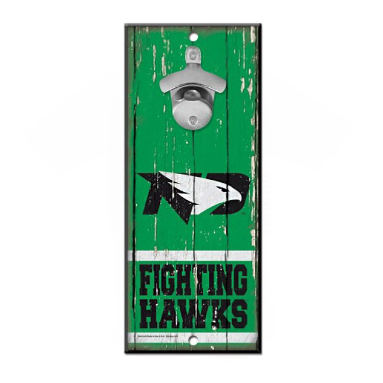 UNIVERSITY OF NORTH DAKOTA FIGHTING HAWKS BOTTLE OPENER SIGN